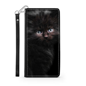 Handmade Wallet Style Phone Case - Black Kitty Cat-Accessories, Wallet Case, phone case, cat couture-Northern Treasure