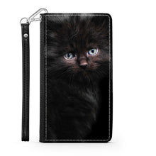 Load image into Gallery viewer, Handmade Wallet Style Phone Case - Black Kitty Cat-Accessories, Wallet Case, phone case, cat couture-Northern Treasure