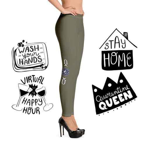 COVID-19 Military Green Leggings-Apparel, leggings-Northern Treasure