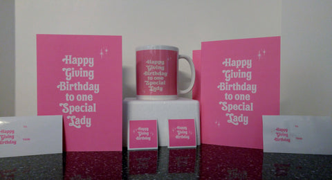 Giving Birthday Pink Mug Card and Sticker Package