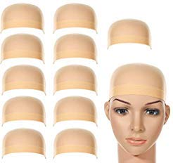 Labota 12 Packs Stretchy Nylon Wig Caps; Natural Beige; For Women And Men