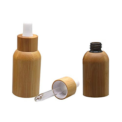 2 Pieces 15Ml/0.51Oz Bamboo Shell Amber Glass Dropper Bottles Refillable Empty Sample Vial Dropper Bottles With Pipettes Essential Oil Perfume Storage Container Bottles For Essential Oil Aromatherapy