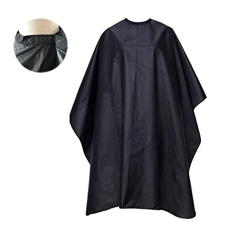 Focuson Professional Barber Cape, Salon Cape With Snap Closure For Hair Cutting, Black 59  X 51