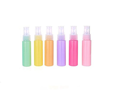 6Pcs Plastic Refillable Empty Macaron Color Sample Spray Bottle-Perfume Cosmetic Storage Container Makeup Emollient Water Emulsion Lotion Liquid Vial Jar Pot(Color Random) (30Ml/1Oz)