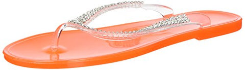 Nufoot Tangerine Flip Flops With Rhinestones, Medium, 2 Count