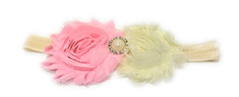 Chicky Chicky Bling Bling Girls Pink Shabby Bow Headband (Pink Ivory)