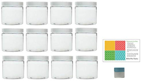Clear 16 Oz Plastic Jars With White Lids (12 Pk) With Mini Jar - Pet Round Refillable Containers
