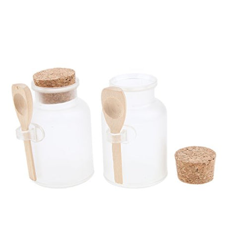 D Dolity 2X Clear Bottle With Corks And Wood Spoon Empty Bath Salt Bottles Refillable 100G/200G - 100G