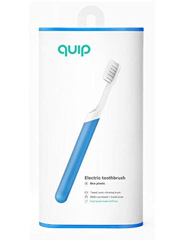 Quip Electric Toothbrush Set - Electric Brush And Travel Cover Mount (Blue)