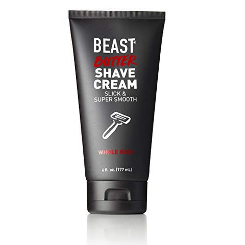 Beast Butter Whole Body Shave Cream - Organic Aloe, Gentle Oats, Ginseng, Vitamins - Super Smooth Slick Foamless - Shaving Lotion Face Head Body Butt Balls Legs Mens Womens - Tame The Beast (6 Oz)