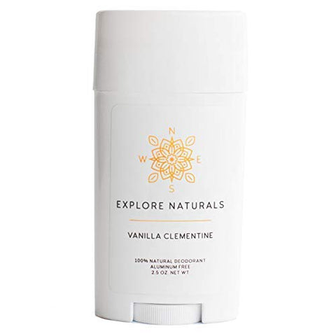 Natural Deodorant  Aluminum-Free, All-Day Performance For Women &Amp; Men By Explore Naturals - Paraben, Phthalate, Sulfate &Amp; Cruelty Free - Multiple Scents Available, Made In Usa (Vanilla Clementine)