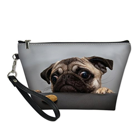 Showudesigns Travel Makeup Bag Women Cosmetic Case With Removable Strap Pug Dog Grey Print