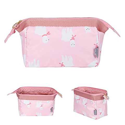 Makeup Bag/Travel Cute Cosmetic Pouch Storage/Brush Holder Toiletry Fashion Women And Girl Waterproof Jewelry Organizer With Zipper Pencil Carry Case Portable Cube Purse (Alpaca Pink)