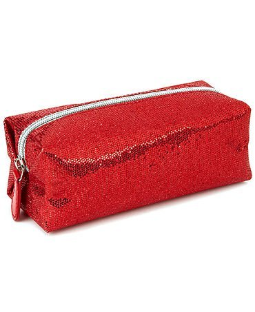 Red Sequin Zippered Cosmetic Makeup Bag