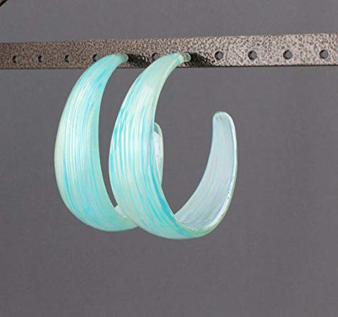 Turquoise Plastic Hoop Earrings 2 1/8 Wide Hoops Big Hoop Earrings Striped