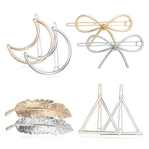 Jaciya 15Pcs Minimalist Dainty Hair Clips Hollow Geometric Alloy Hairpin Clamps,Starfish, Leaf, Circle, Triangle And Moon Multiple Style (Moon 6 Pack)