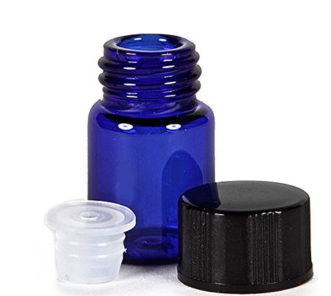 15Pcs 2Ml Blue Refillable Glass Essential Oil Bottles Cosmetic Sample Bottles Vials With Orifice Reducers And Black Caps (2Ml)