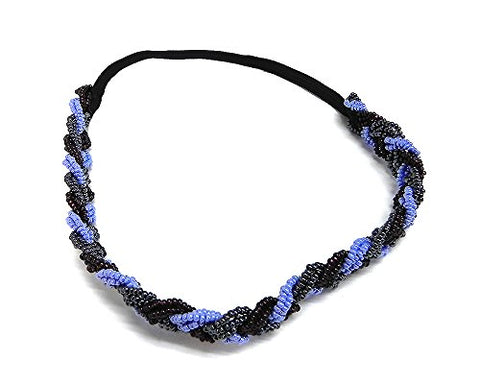 Braided Seed Bead Jewel Beaded Stetchy Elastic Strap Headband Handwoven Women'S Fashion Hair Accessory (Periwinkle/Burgundy)