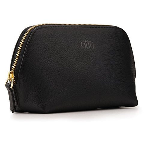Otto Leather Genuine Leather Makeup Bag Cosmetic Pouch Travel Organizer Toiletry Clutch, Black