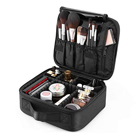 Makeup Train Case, 10'' Travel Makeup Bag Cosmetic Case Organizer With Large Capacity Adjustable Dividers For Cosmetics