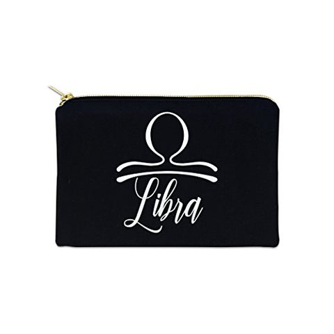 Libra Zodiac Sign 12 Oz Cosmetic Makeup Cotton Canvas Bag - (Black Canvas)
