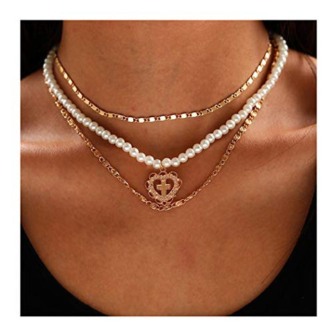 Edary Layered Necklace Pearl Heart Cross Clavicle Chain For Women And Girls(Gold)