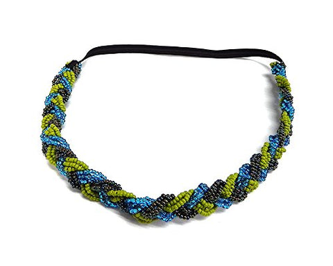 Braided Seed Bead Jewel Beaded Stetchy Elastic Strap Headband Handwoven Women'S Fashion Hair Accessory (Lime-Green/Turquoise)