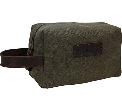 Canvas Leather Toiletry Bag Iswee Bathroom Shower Organizer Shaving Doop Kit(Army Green)