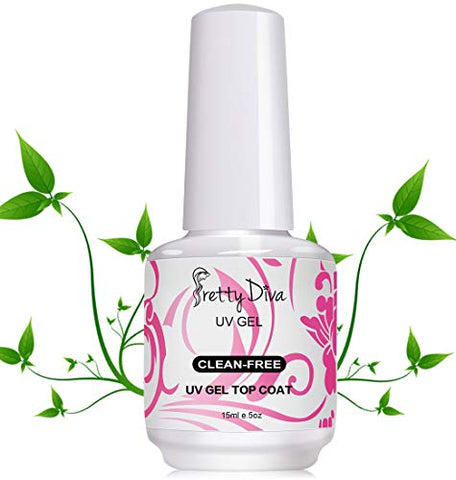Prettydiva No Wipe Top Coat - 0.5 Ounce Uv Led Cured Required High Gloss Soak Off Gel Nail Polish Top Coat - Clear