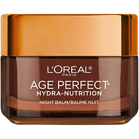 Night Cream By Loreal Paris, Age Perfect Hydra-Nutrition Night Balm Face Moisturizer With Manuka Honey Extract And Nurturing Oils To Comfort And Improve Resilience On Dry Skin, Paraben Free, 1.7 Oz.