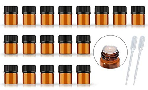 50Pack Set 1Ml 2Ml 5Ml Amber Glass Bottle With Orifice Reducer And Cap Small Essential Oil Vials (1Ml)