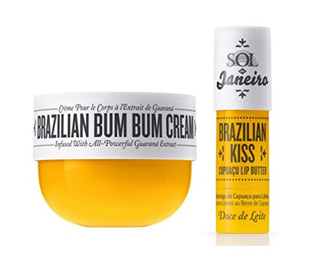 Sol De Janeiro Brazilian Bum Bum Cream (75Ml) And Brazilian Kiss Cupuacu Lip Butter 0.21 Oz - Bundle