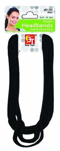 Beauty Town Elastic Headbands (Flat, 10Mm) (6 Pcs In One Pack) (Black)
