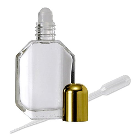 Grand Parfums Empty Refillable Roll-On Perfume Bottle, Faceted Glass, Gold Cap 1/2 Oz 15Ml With Funnel And Transfer Pipette (1 Bottle)