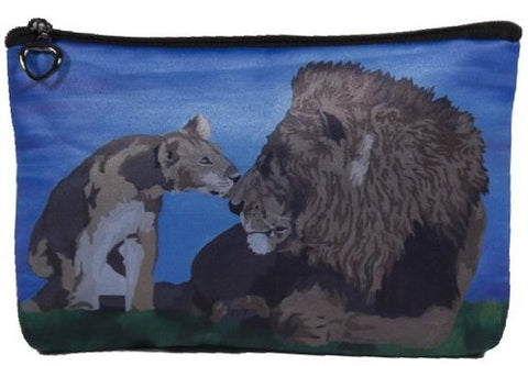 Lions Cosmetic, Lion Zipper Pouch - Support Wildlife Conservation, Read How - From My Original Painting, A Fathers Pride