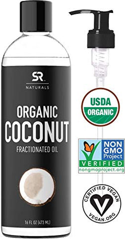 Organic Fractionated Coconut Oil By Sr Naturals ~ 100% Pure Multi-Purpose Oil ~ Organic Certified &Amp; Non-Gmo Verified (16Oz)