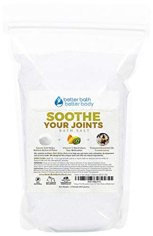 Soothe Your Joints Bath Salt 32Oz (2-Lbs) Epsom Salt Bath Soak With Frankincense Essential Oil &Amp; Vitamin C - All Natural No Perfumes No Dyes