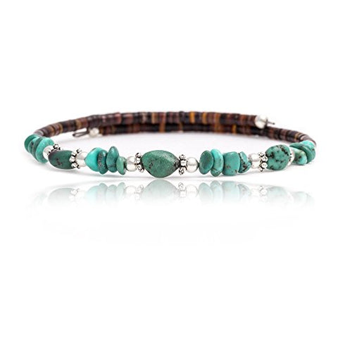 $80 Tag Certified Authentic Navajo Native American Natural Genuine Turquoise Adjustable Wrap Bracelet