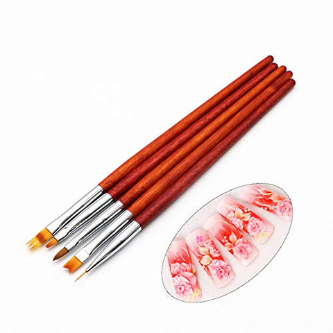 Wokoto 5Pcs Nail Art Brush Pens Set Nail Ombre Gradient Liner Brushes French Nail Painting Brushes Acrylic Brushes For Uv Gel Nail Art Polish Brushes Kit With Wood Handle