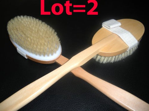Touch Me Natural Bristle Detachable Long Handle Wooden Bath Body Back Brush Spa Set Of 2