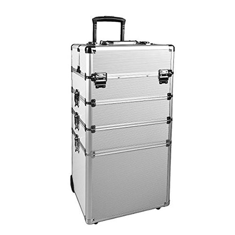Makeup Rolling Train Case 4-In-1 Professional Artist Trolley Cosmetic Organizer With 2 Wheels Durable Aluminum Frame Folding Trays And Locks (13.410.428.7 In, Silver)