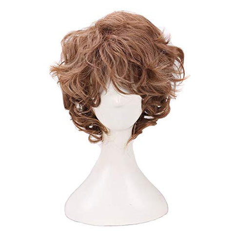 Boming Man'S Short Curly Brown Cosplay Wigs For Halloween Costume