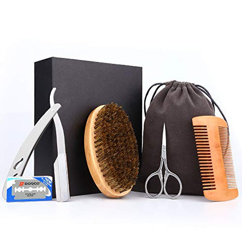 Beard Brush And Comb Set, Senignol 5-In-1 Beard Grooming Kit, Boar Bristle Brush Wooden Beard Comb/Beard Scissors For Men/Manual Straight Edge Razor With 10 Blades/Velvet Travel Pouch&Amp; Gift Case