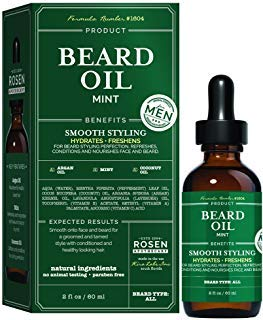 Rosen Apothecary Mens Natural Mint Beard Oil, Hydrates, Freshens For Smooth Styling Bread 2Oz/60Ml