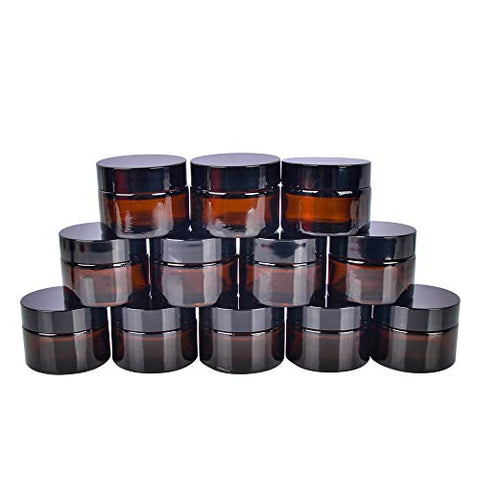 30 Ml 1 Oz Amber Glass Jars With White Inner Liners And Black Lids.Glass Round Jars Prefect For Cosmetics And Face Cream Lotion.