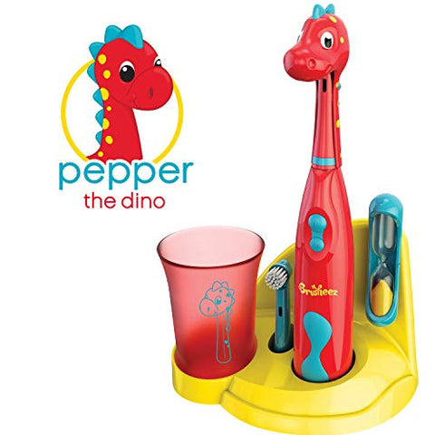 Brusheez Kid'S Electric Toothbrush Set - Pepper The Dino - New &Amp; Improved With Softer Bristles, Easy-Press Power Button, 2 Brush Heads, Cute Animal Cover, Sand Timer, Rinse Cup &Amp; Storage Base