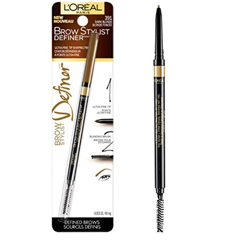 L'Oral Paris Makeup Brow Stylist Definer Waterproof Eyebrow Pencil, Ultra-Fine Mechanical &Amp; Retractable Brow Pencil, Draws Tiny Brow Hairs &Amp; Fills In Sparse Areas &Amp; Gaps, Dark Blonde, 0.003 Oz.