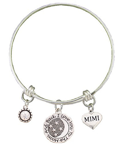 Mimi Love You To The Moon Silver Wire Adjustable Bracelet Heart Jewelry Gift