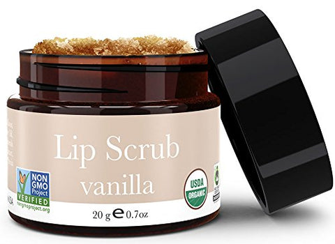 Lip Scrub, Vanilla Flavor - Organic Exfoliating Sugar Scrub, Exfoliator For Chapped Dry Lips, Moisturizes With Fresh Lush Natural Ingredients, Best Before Balm For Men And Women