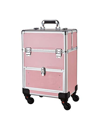 Makeup Case - Aluminum Professional Rolling Cosmetic Storage Box With Drawer And Locks Pink